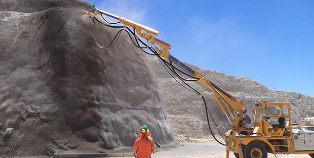 How is shotcrete used in slope stabilization work?